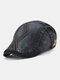メンズコットンアーガイル柄刺繍スターストライプレザーラベルカジュアルベレーフラットキャップ - 黒