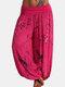 Loose Print Elastic Waist Casual Pants For Women - Rose