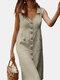 Solid Color V-neck Front Button Pockets Sleeveless Cotton Midi Dress - Khaki
