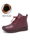 SOCOFY Genuine Leather Stitching Solid Color Soft Wearable Sole Casual Flat Short Boots - Wine Red (Plush)