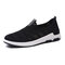 Men Breathable Knitted Fabric Light Weight Slip-on Walking Sneakers - Black