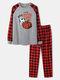 Mens Halloween Pumpkin Print Plaid Patchwork Raglan Sleeve Pajamas Sets - Gray