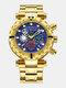Multifunctional Men Business Watch Luminous Chronograph Calendar Quartz Watch - Blue Dial Gold Band