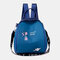 Women Oxford Waterproof Embroidery Ethnic Multi-carry Backpack - Blue