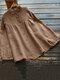 Solid Long Sleeve Button O-neck Women Loose Vintage Blouse - Khaki