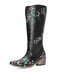 Plus Size Women Casual Ethnic Embroidered Comfy Mid-Calf Black Cowboy Boots - Black