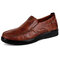 Menico Men Retro Color Leather Large Size Soft Sole Casual Driving Shoes - Brown