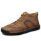 Men Comfy Microfiber Leather Non Slip Handmade Stitching Ankle Boots - Khaki