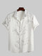 Mens Plum Blossom Print Button Up Chinese Style Short Sleeve Shirts - White