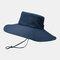 Hat Male Sun Hat Outdoor 12CM Oversized Brim Fisherman Hat Men Summer Mountaineering Sun Hat - Navy