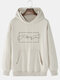 Mens 100% Cotton Helping Hand Graphic Print Drop Sleeve Drawstring Hoodies - Khaki