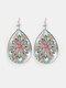 Vintage Glass Printed Women Earrings Geometric Flower Pendant Earrings Jewelry Gift - #01
