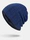 メンズ冬Plusベルベットストライプ柄アウトドアロングニットウォームビーニーハット - 青