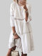 Lace Hollow Out Solid Color O-neck 3/4 Sleeve Dress - White