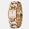 Simple Trendy Women Wristwatch Hollow Steel Band Square Dial Quartz Bracelet Watch - Gold