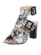 Women Casual Solid Color Snake Pattern Buckle Chunky Heels Stripe Sandals - White
