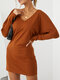 Solid Color Dolman Long Sleeve V-neck Casual Dress For Women - Brown
