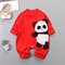 Baby 3D Panda Print Long Sleeves O-neck Casual Rompers For 3-18M - Red