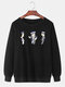 Mens Cartoon Graphic Print Cotton Crew Neck Loose Fit Casual Sweatshirt - Black