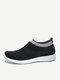 Women Sport Knitted Fabric Comfy Breathable Sock Shoes Casual Running Shoes - Black