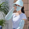 Women Four-pieces UV Protection Outdoor Ice Silk Sleeve Breathable Cover face Mask Sunscreen Hat With Anti-Glare Detachable Len - Blue