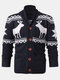 Mens Christmas Reindeer Button Thick Warm Casual Knitted Cardigan Sweater - Black