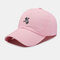 Unisex Cotton Embroidery Astronaut Pattern Sunscreen Casual Couple Hat Baseball Hat - Pink