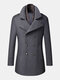 Mens Double Breasted Woolen Lapel British Style Overcoats With Scarf - Grey