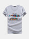 Mens Fish Printed O-neck Short Sleeve Summer Casual T Shirts