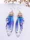 Vintage S925 Sterling Silver Butterfly Long Cicada Wings Gradient Earrings - 1