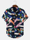 Mens Colorful Geometric Print Street Short Sleeve Shirts With Pocket - Navy