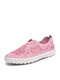 Women Brief Floral Hollow out Round Toe Flat Stitching Loafers Shoes - Pink