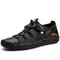 Men Hand Stitching Leather Non Slip Splicing Elastic Lace Casual Sandals - Black