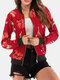 Calico Print Long Sleeve Zip Front Patchwork Pocket Jacket - Red