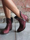 Large Size Women Casual Side-zip Pointed Toe Brief Solid Color Low Heel Ankle Boots - Wine Red