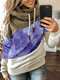 Contrast Color Patchwork Print Casual Hoodie For Women - Purple