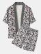 メンズフローラルプラントプリントオープンフロント着物ルーズツーピース衣装 - グレー