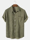 Mens Corduroy Solid Color Casual Breathable & Thin Short Sleeve Shirts - Army Green