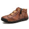 Men Handmade Stylish Side Zipper Microfiber Leather Ankle Boots - Brown