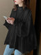 Solid Color Knotted Pleated Long Sleeve Ruffle Blouse for Women - Black