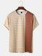Mens Polka Dot & Color Block Print Crew Neck Short Sleeve T-Shirt - Coffee