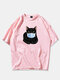Mens 100% Cotton Funny Cat Printed Short Sleeve Graphic T-Shirt - Pink