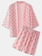 Mens Pink Geometry Print 3/4 Sleeve Open Front Two Piece Outfits - Pink