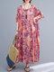 Vintage Flower Print Loose O-neck Half Sleeve Dress for Women - Pink