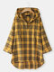 Plaid Button Hooded Long Sleeve Plus Size Blouse - Yellow