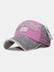 Men Washed Cotton Embroidery Baseball Cap Outdoor Sunshade Adjustable Hats - Pink