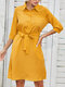 Lapel 3/4 Length Sleeve Button Pocket Solid Color Belt Casual Dress - Yellow