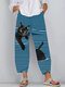 Black Cat Print Striped Patchwork Elastic Waist Plus Size Pants - Light Blue