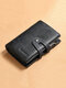 Men Genuine Leather 6 Card Slots Retro Anti-theft Money Clips Foldable Card Holder Wallet - Blue