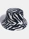 女性と男性のフェルトZebraパターンPlus厚くベルベット暖かい防風Softオールマッチバケットハット - 黒